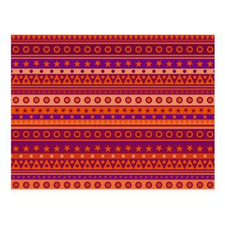 Purple and Orange Stripy Stars and Spots Pattern Postcard