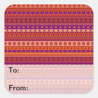 Purple and Orange Stripy Stars and Spots Pattern Square Sticker