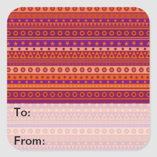 Purple and Orange Stripy Stars and Spots Pattern Stickers