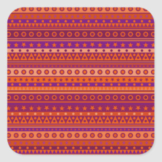 Purple and Orange Stripy Stars and Spots Pattern Square Sticker