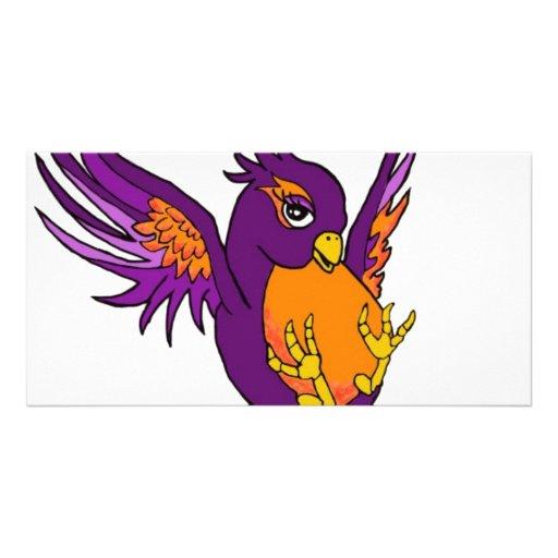 Purple and Orange Swallow Custom Photo Card
