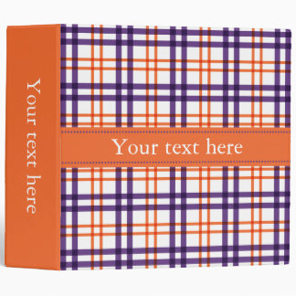 Purple and Orange Tartan 3 Ring Binder