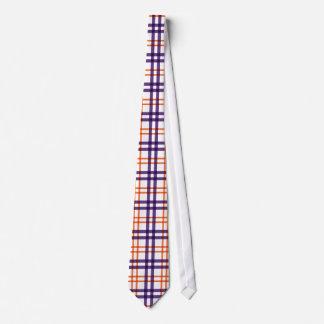 Purple and Orange Tartan Neck Tie