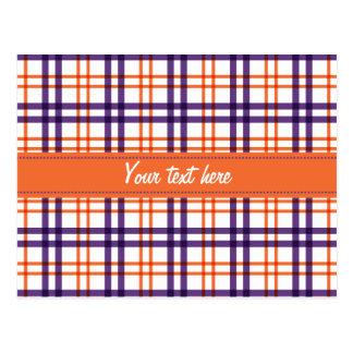 Purple and Orange Tartan Postcard