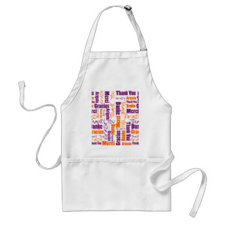 Purple and Orange Thank You Word Cloud Adult Apron