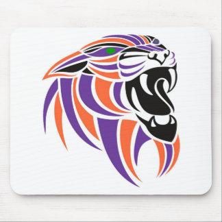 Purple and Orange Tiger Head Mouse Pad