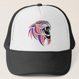 Purple and Orange Tigers Head Trucker Hat