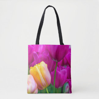 Purple and orange tulips all-over-print tote bag