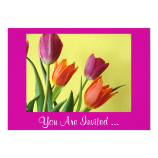 Purple And Orange Tulips Party Invitations