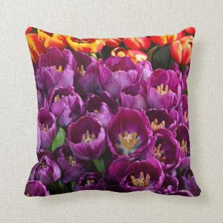 Purple and orange tulips throw pillow