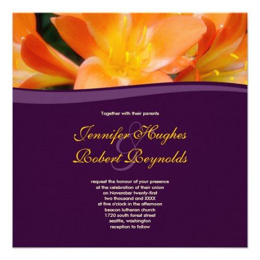 Purple and Orange Wedding Invitation