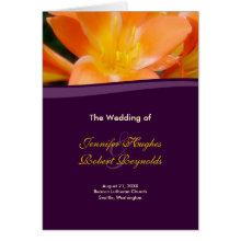 Purple and Orange Wedding Program Card