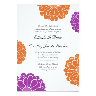 Purple and Orange Zinnia Flower Wedding Invitation