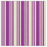 [ Thumbnail: Purple and Pale Goldenrod Colored Stripes Fabric ]