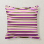 [ Thumbnail: Purple and Pale Goldenrod Colored Stripes Pattern Throw Pillow ]