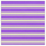 [ Thumbnail: Purple and Pale Goldenrod Lines/Stripes Pattern Fabric ]