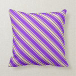 [ Thumbnail: Purple and Pale Goldenrod Lines/Stripes Pattern Throw Pillow ]