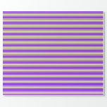 [ Thumbnail: Purple and Pale Goldenrod Lines/Stripes Pattern Wrapping Paper ]