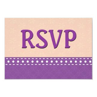 Purple and Peach RSVP Stitches Polka Dots V11A Card