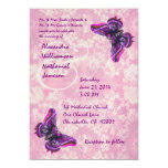 Purple and Pink Butterflies Wedding Template Personalized Invitation