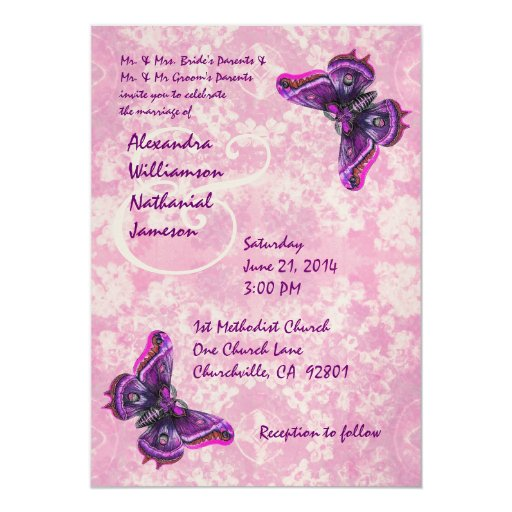Purple and Pink Butterflies Wedding Template 5x7 Paper Invitation Card