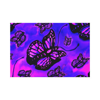 Purple and pink butterfly canvas piece