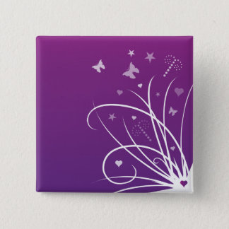 Purple and Pink Butterfly Swirl Button