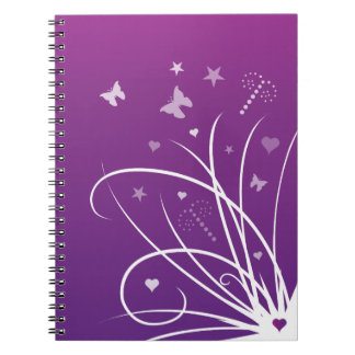 Purple and Pink Butterfly Swirl Notebook