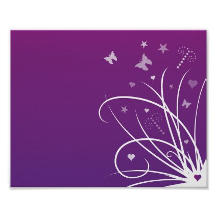 Purple and Pink Butterfly Swirl Posters