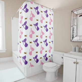 Purple and Pink Cats and Mice Shower Curtain