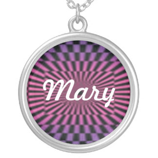 Purple And Pink Checker Board Name Necklace