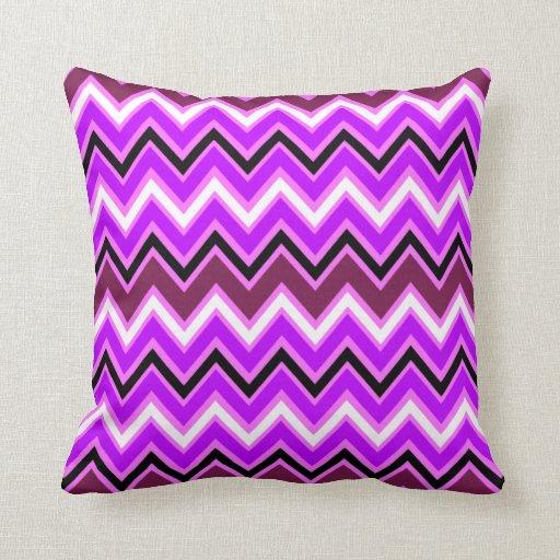 Purple and Pink Chevron Pattern Pillow