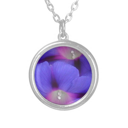 Purple and Pink Colored Morning Glory Flowers Round Pendant Necklace