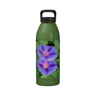 Purple and Pink Colored Morning Glory Flowers Reusable Water Bottles