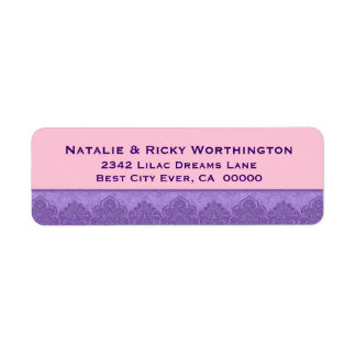 Purple and Pink Damask Lace Trim Wedding S30Q Label