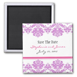 Purple and Pink Damask Save The Date magnet