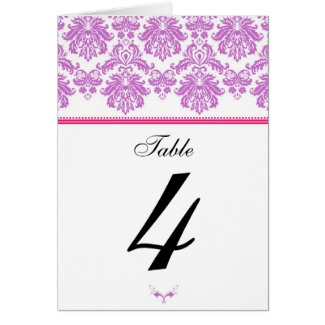Purple and Pink Damask Table Seating Number card