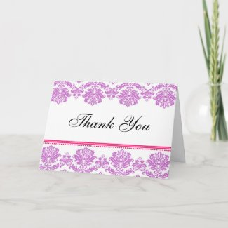 Purple and Pink Damask Thank You Cards card