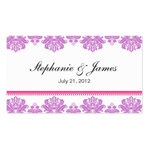 Purple and Pink Damask Wedding Business Card