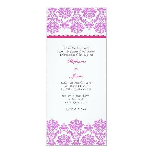 Purple And Pink Damask Wedding Invitation