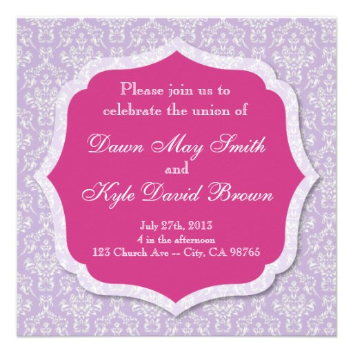 Purple And Pink Damask Wedding Invitation 525 Square Invitation Card