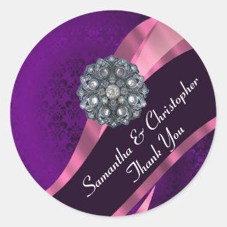 Purple and pink damask wedding seal classic round sticker