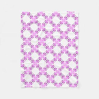 Purple and pink fleur de lis lattice pattern fleece blanket