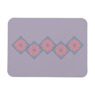 Purple and Pink Floral Border Flexible Magnet