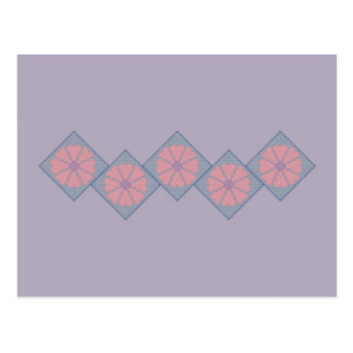 Purple and Pink Floral Border Postcard