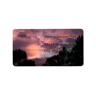 Purple and Pink Florida Sunset over Pine Trees Label