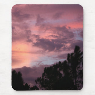 Purple and Pink Florida Sunset over Pine Trees Mouse Pad