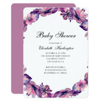 Purple and pink flowers baby shower invitation