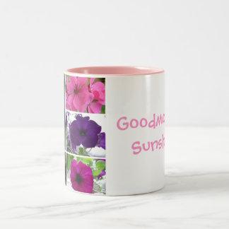 Purple and Pink Flowers Two-Tone Coffee Mug