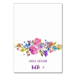 Purple and Pink Flowers Wedding Escort Place Cards